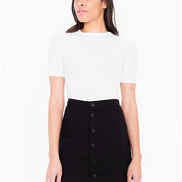Button Front Denim A-Line Skirt | American Apparel