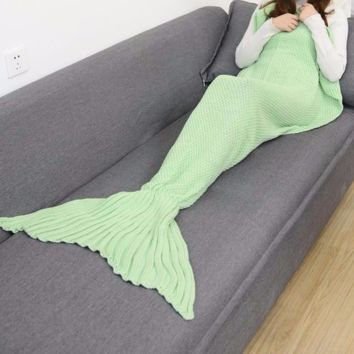 LIGHT GREEN MERMAID TAIL SOLID CROCHET BLANKET SIZES TODDLER CHILD ADULT