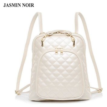 Fashion women's shoulder bag Quilted beige leather back pack college brand laptop Backpack female school bags for teenage girls