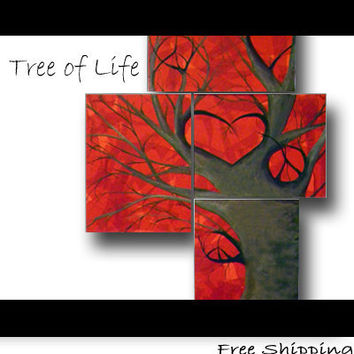 Unique Wedding Guest Book - Love Tree of Life Painting - Inspirational Custom Quote on Canvas -  Unique Wedding Gift, Wedding Guestbook