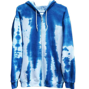SALE Blue Sweatshirt Adult Womens Mens Girls Boys Gift For Him Gift For Her Gym Clothing TieDye Skateboard Casual Fall Hooded Sweater Fleece