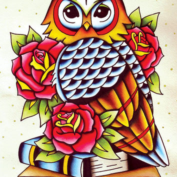 Traditional American Tattoo Style Original Owl Watercolor Painting Print Poster 11x14