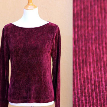Vtg 90's Grunge chenille Sweater Maroon jumper pullover dark Burgundy boat neck cozy soft ribbed Medium Large