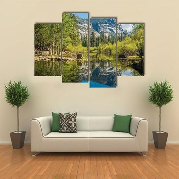 Half Dome Reflecting In A Mirror Lake Multi Panel Canvas Wall Art