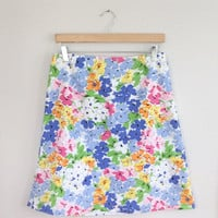 80s Skirt / 80s Preppy Skirt / 80s Floral Skirt / 80s Summer Skirt / 80s Sport Skirt / You-nique Sportswear