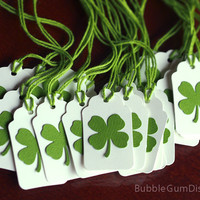 Paper Irish Shamrocks Mini Gift Tags Set of 6 St Patricks Day Four Leaf Clover 4 Leaf Clovers Mini Hang Tags