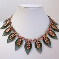 Fall Autumn Leaf Bold Vintage Rich Copper Metal Statement Necklace with Green Enamel Finish - Fashion Costume Jewelry - JryenDesigns