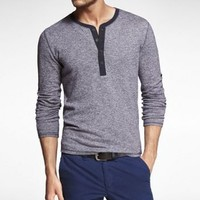 LONG SLEEVE MARLED MILITARY HENLEY TEE at Express