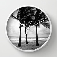 Palm Tree Wall Clock - Black and White, Surf Decor, Beach House