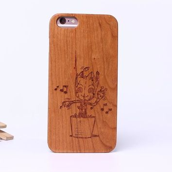 Guardians of the Galaxy Groot Laser Engraved Real Wood Phone Cases