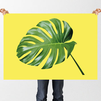 Tropical Leaf Print, Printable Monstera Leaf Illustration, House Plant Poster, Cheese Plant, Instant Download, Botanical Wall Decor, Yellow