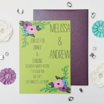 Hand painted vibrant floral wedding invitation plum and chartreuse sample