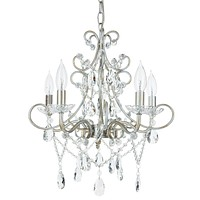 5 Light Classic Crystal Plug-In Chandelier (Silver)