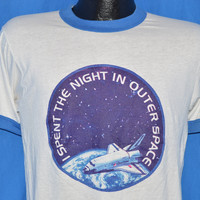 80s NASA I Spent the Night in Outer Space Ringer t-shirt Small