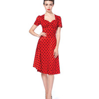 Voodoo Vixen Red Polka Dot Flair Dress