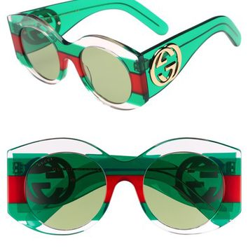 Gucci 51mm Transparent Stripe Sunglasses | Nordstrom