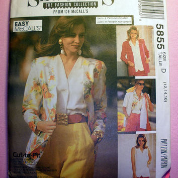 Women's Cardigan and Blouse Misses' Size 12, 14, 16 McCall's 5855 Sewing Pattern Uncut