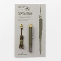 TRAVELER'S Company Olive Edition Brass Pen