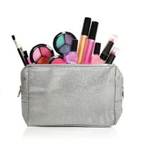 Kids, Toddlers Pretend Play Washable Makeup Set With A Glitter Cosmetic Bag