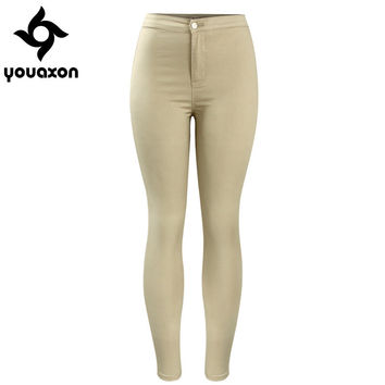 2039 Youaxon Women`s Hot Curvy High Waist Stretchy Khaki Jean Pants Skinny Pencil Woman Jeans Femme
