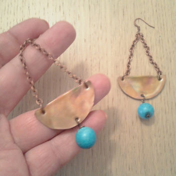 handmade dangle copper earrings with howlite