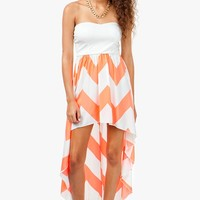 Neon Zig Zag Bustier Hi Lo Dress