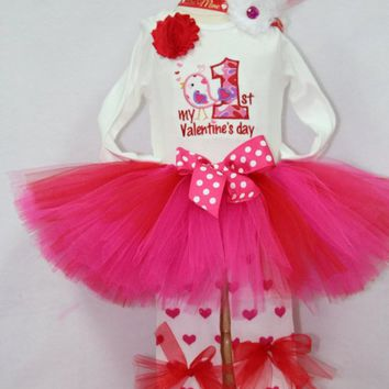Baby girl 1st Valentines Day outfit, My first Valentines Dayoutfit, Valentines Day red and hot pink tutu, Valentine red heart legwarmers