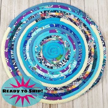 """R2S Handmade Table Mat Fabric Placemat 14"""" Diameter Multicolors Ready to Ship"""