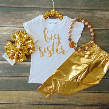 Big Sister White T-Shirt - Pregnancy Announcement - Gender Reveal - Gold Glitter Sparkle -  Ann Marie Avenue