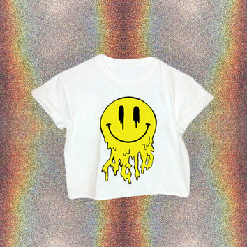90s Acid Trip Smiley Face Shirt // Smiley Face Crop Top // 90s Grunge // Acid // 90s Clothing // Sea Punk // Trippy