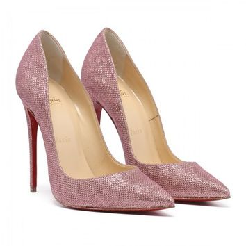 Christian Louboutin Pink So Kate 120 Poudre Glitter Tisse Heel Pumps Size EU 37.5 (Approx. US 7.5) Regular (M, B)