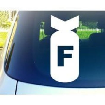 F Bomb Car Window Decal Tablet Decal PC Sticker Automobile Mobile Cellphone Truck Bumper Window Wall Laptop Notebook Macbook ipad iphone