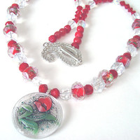 Red Beaded Necklace Czech Glass Button Focal Pendant Glass Flower Beads Fashion Jewelry Women