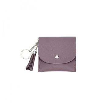 Leather Fold Front Wallet with Tassel Keychain