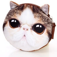 Brown Cat Face Cute Coin Purse