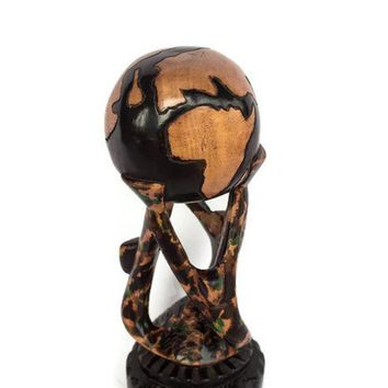 Hand-Carved Unity-Themed Wood Sculpture from Ghana/ Global unity