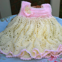 Baby Crochet dress Baby dress pineapple lace heirloom handmade Baby boutique girl clothes cream peach baby gifts 3-9 mths crochetyknitsnbits