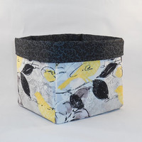 Black, Gray and Yellow Bird Themed Fabric Basket For Storage Or Gift Giving