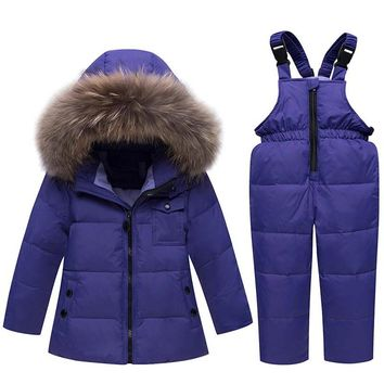 ZTOV Winter Suits for Boys Girls 2018 Boys Ski Suit Children Clothing Set Baby Duck Down Jacket Coat Overalls Warm Kids Snowsuit