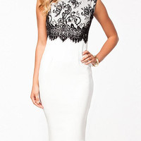 White Sleeveless Midi Dress with Lace Detail