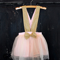 Doll Baby Gold & Pink Suspender Skirt - Infant & Toddler | zulily