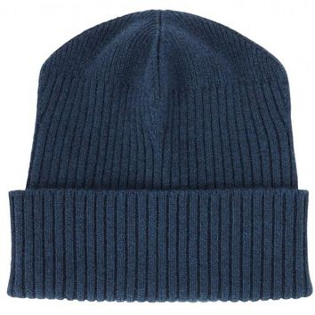 Stella McCartney Dark blue ribbed wool beanie