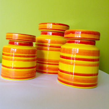 3 x Baldelli Ceramic Canisters Italy 655 Vintage Bright Funky Colours Mid Century