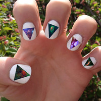 Galaxy / Triangle Nail Decals Transfer Nail Stickers