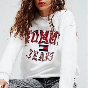 MDIGONV ' Tommy Hilfiger '' Trending Casual Round neck letters printed loose long sleeve sweater G