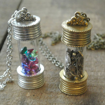 Bottle Necklace, Message in a Bottle, Antique Silver or Antique Gold, Comes empty for you to fill, Bottle for Sand, Bottle for Ashes