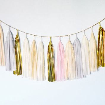 Airy Tissue Tassel Garland, Pink, Blush, Gold, Wedding Bunting, Nursery Decor, Baby Shower, Bridal Shower, Wedding Decor, Dessert Table