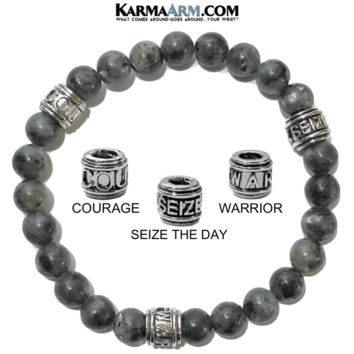 Motivation Mantra Bracelet | Black Moonstone | COURAGE | SEIZE THE DAY | WARRIOR