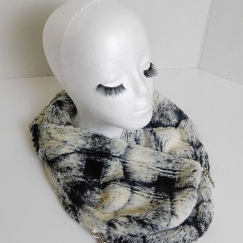 Very Stylish! Faux  Fur Scarf (Arctic Plaid Eggshell/Black) Winter Scarf, Cold Weather Stole, Faux Fur Wrap, Faux Fur collar
