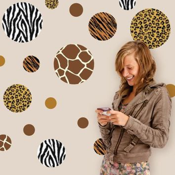Animal Print Dot Wall Decals, Eco-Friendly Removable Wall Stickers